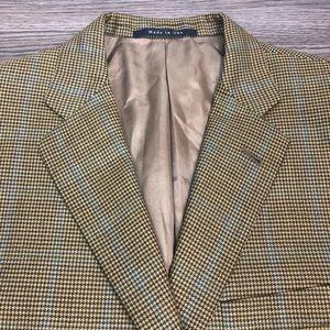 Burberry Gold Check w/ Teal Windowpane Blazer 42R
